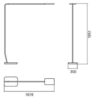 Dimensions lampadaire de bureau 90° de Artemide