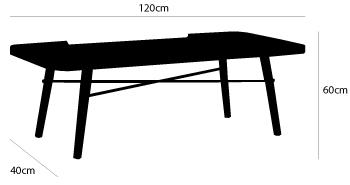 dimensions table basse met