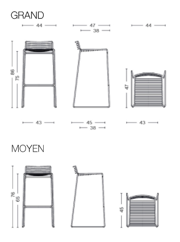 Dimensions hee bar stool