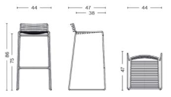 dimensions hee bar stool