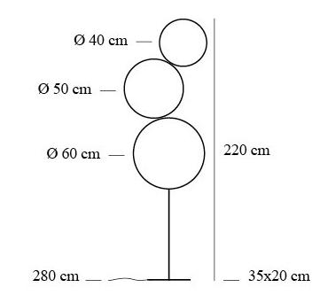 dimensions lampadaire sorry giotto
