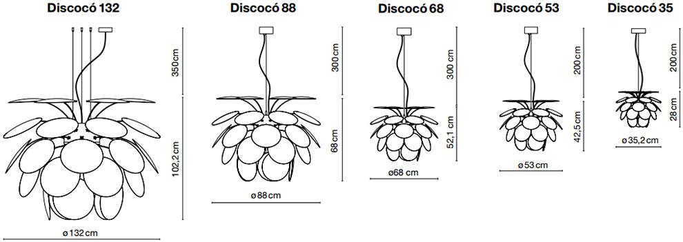 Dimensions des suspensions Discocó de Marset