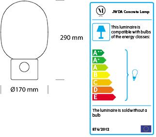 Dimensions lampe en béton Menu JWDA