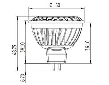 Dimensions ampoule LED MR16 7W Gradable GE Lighting