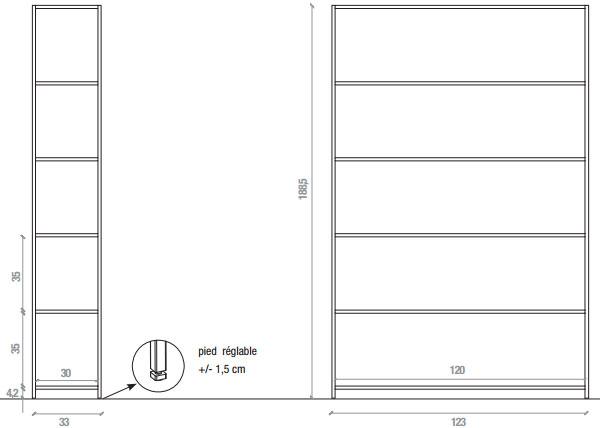 Dimensions étagère Minima 3.0 den MDF Italia