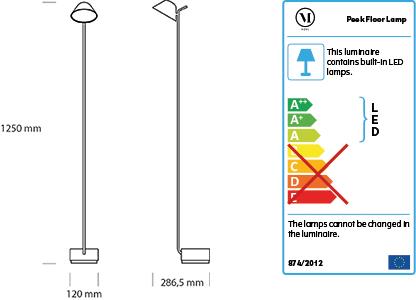 Dimensions lampadaire Peek de Menu