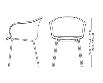 schema chaise pied acier