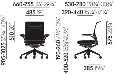 Dimensions AC 5 Work Lowback Vitra
