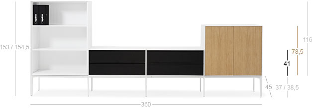 L - open + S - two drawers double + M - doors LAPALMA