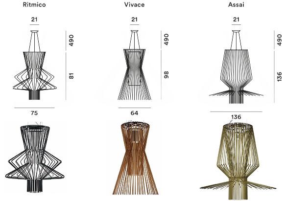 Modèles suspensions Allegro Artemide