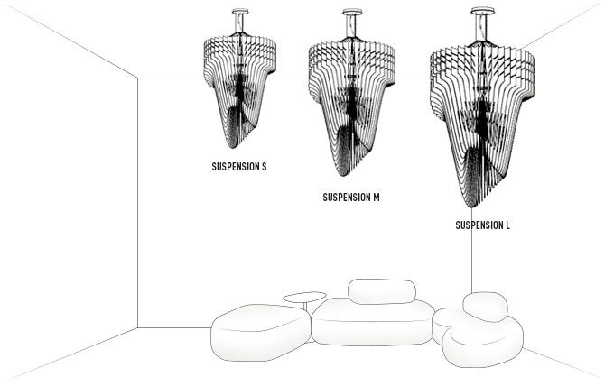 Dimensions suspensions Aria de Slamp