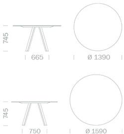 Dimensions Arki-Table ronde de Pedrali