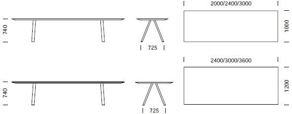 Dimensions Arki-Table de Pedrali