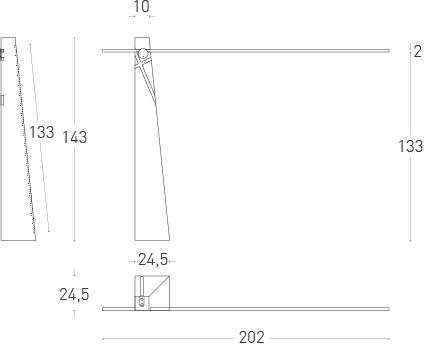 Dimensions lampadaire Astolfo de  Lumen Center Italia