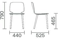 Dimensions chaise Babila de Pedrali