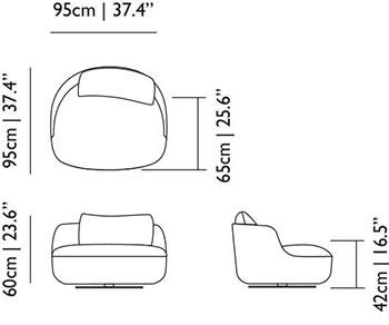 Dimensions fauteuil pivotant Bart de Moooi.