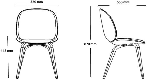 Dimensions chaise avec pieds bois Beetle Gubi