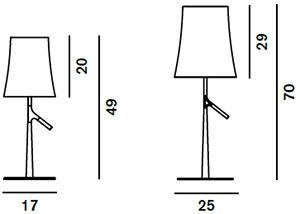 Dimensions lampes Birdie de Foscarini