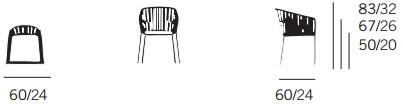 Dimensions fauteuil de salle à manger Bitta de Kettal