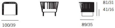 Dimensions fauteuil Bitta de Kettal