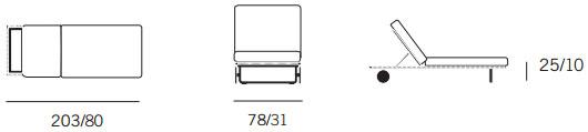 Dimensions chaise longue Bitta de Kettal