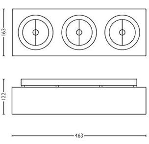 Dimensions spot Bloq 3 de Lirio by Philips