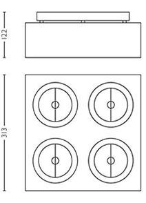 Dimensions spot Bloq 4 de Lirio by Philips