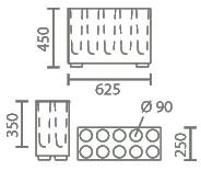 Dimensions porte-parapluies Brick de Pedrali