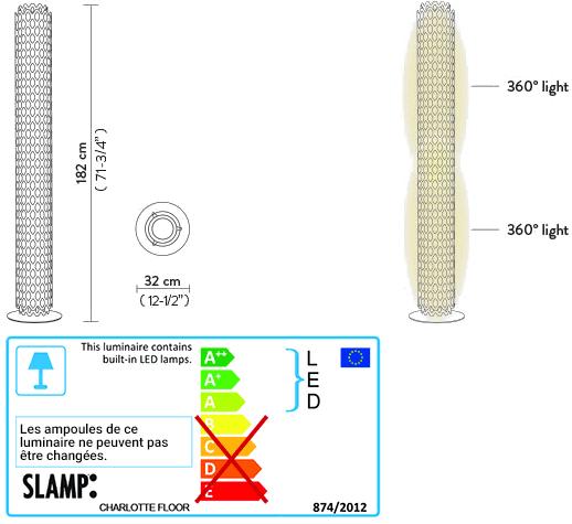 Dimensions lampadaire Charlotte de Slamp