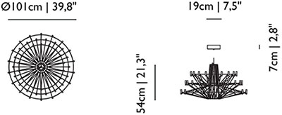 Dimensions suspension Coppélia de Moooi