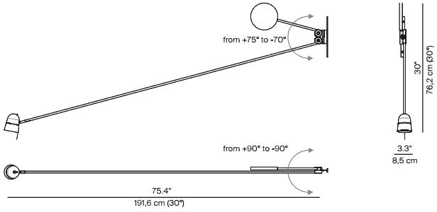 Dimensions applique Counterbalance Luce Plan