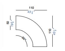 dimensions panco arc de cercle lapalma