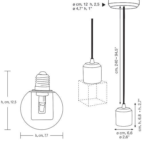 Dimensions suspension Crystaled ronde de Seletti