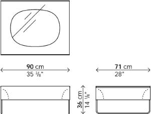 Dimensions table basse Holo verre Kristalia
