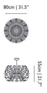 Dimensions dandelion suspension moooi