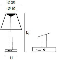 Dimensions lampe Dina+ de Rotaliana