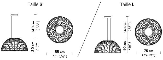 Dimensions suspensions Dome de Slamp