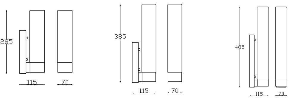 Dimensions applique salle de bain Dresde Evo de Leds-C4