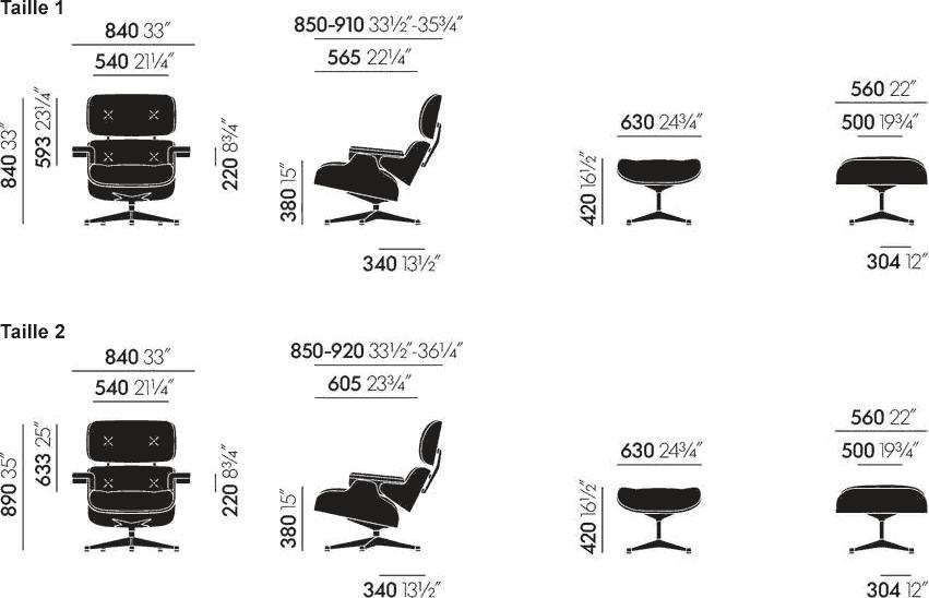 Dimensions Eames Lounge Chair & Ottoman Vitra