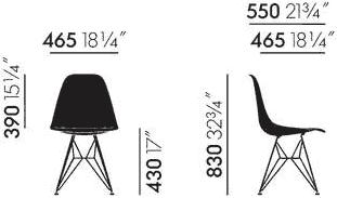 Dimensions Eames Fiberglass Side Chair DSR Vitra