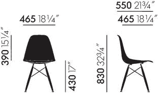 Dimensions Eames Fiberglass Side Chair DSW Vitra