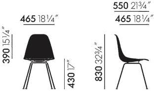 Dimensions Eames Fiberglass Side Chair DSX Vitra