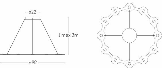 Dimensions de la suspension LED Flat Ring 12 de Lumen Center Italia