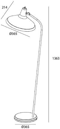 Dimensions lampadaire G10 de Gubi