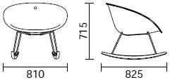 Dimensions fauteuil à bascule Gliss Swing de Pedrali