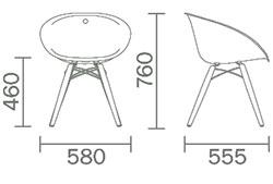 Dimensions fauteuil Gliss Wood de Pedrali