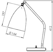 Dimensions lampe de table Gräshoppa de Gubi