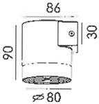Dimensions applique d'extérieur Gun M de Altalum