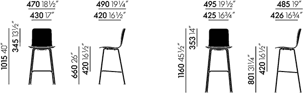 Dimensions tabourets Hal Ply Vitra