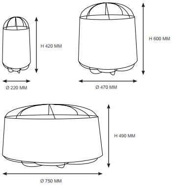 Dimensions suspensions Lanterna de Petite Friture